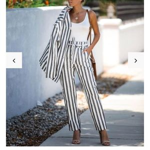 Extended Vacay Striped Cotton Pocketed Tie Pants